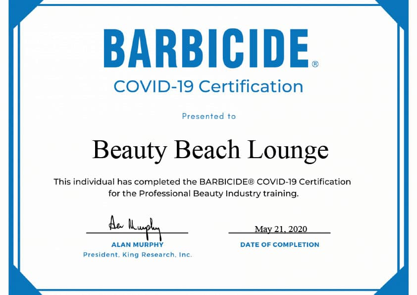 Beauty Beach Lounge Barbicide COVID-19 Certificate